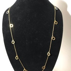 "COACH Gold necklace 20"" open circle w stones"